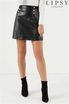 Lipsy PU Military Mini Skirt
