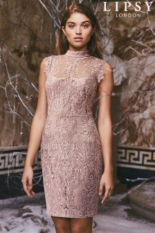 Lipsy All Over Lace High Neck Bodycon Dress