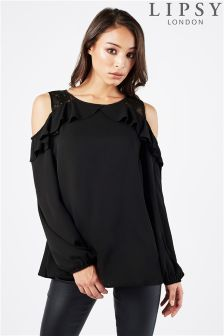 Lipsy Lace Insert Cold Shoulder Ruffle Blouse