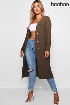 Boohoo Plus Military Button Duster Jacket