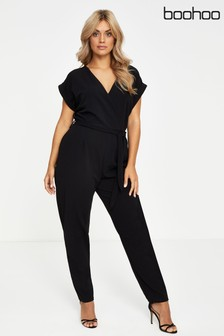 Boohoo Plus Wrap Front Jumpsuit