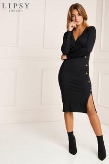 Lipsy Long Sleeve Horn Button Midi Rib Dress