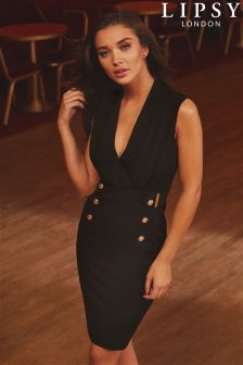 Lipsy Tuxedo Button Detail Bodycon Dress
