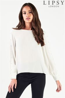 Lipsy Rouleau Button Sleeve Top