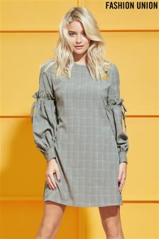 Fashion Union Check Embroidered Dress