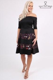 Платье миди с открытыми плечами Want That Trend
