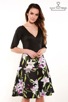 Want That Trend Contrast Skater Dress