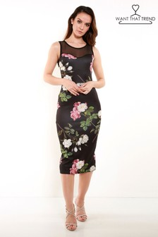 Want That Trend Mesh Floral Bodycon Dress