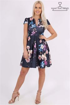 Want That Trend Floral Keyhole Skater Dress