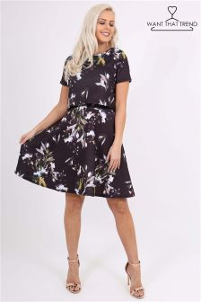 Want That Trend Floral Overlay Skater Dress