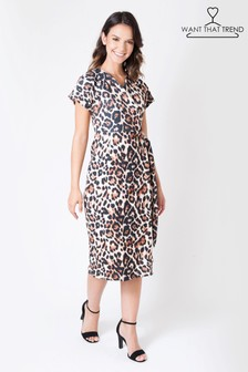 Want That Trend Leopard Print Wrap Dress