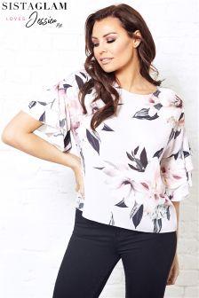 Sistaglam Loves Jessica Short Frill Sleeve Floral Print
