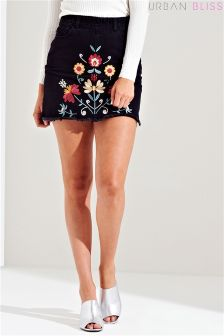 Urban Bliss Embroidered Denim Mini Skirt