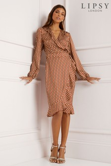 Lipsy Polka Dot Frill Wrap Dress