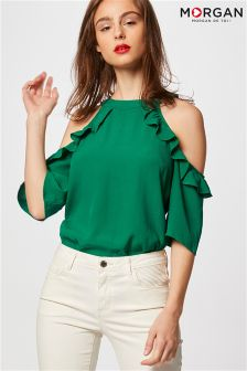 Morgan Cold Shoulder Ruffle Top