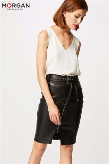 Morgan Leather Look Pencil Skirt