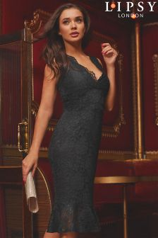 Lipsy V neck All Over Lace Flute Hem Bodycon Dress