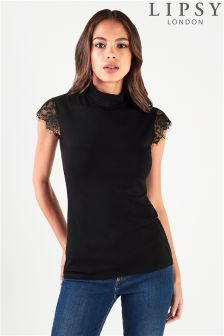Lipsy Lace Insert High Neck Top