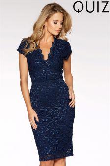 Quiz Lace Sequin Cap Sleeve Midi Dress