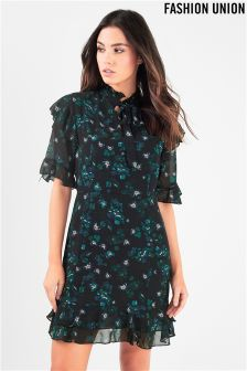 Fashion Union Floral Dress With Tie Neckline