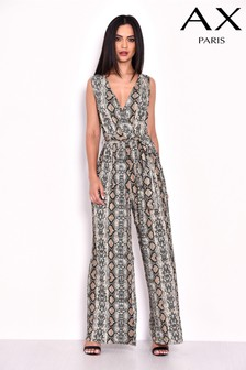 AX Paris Snake Print Pleated Jumpsuit