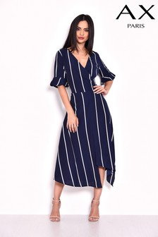 AX Paris Stripe Asymmetric Hem Midi Dress