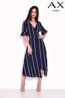 שמלת מידי אסימטרית בהדפס פסים של AX Paris