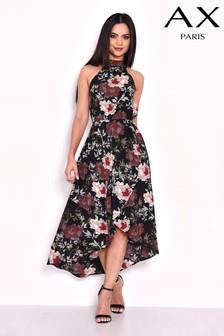 שמלה עם שוליים נמוכים בגב והדפס של AX Paris