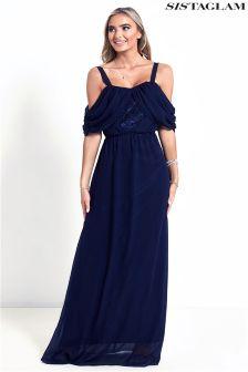 Sistaglam Cold Shoulder Maxi Dress