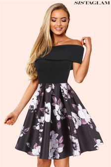 Sistaglam Bardot Multi Floral Skater Dress