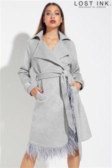 Lost Ink Faux Fur Collar Coat
