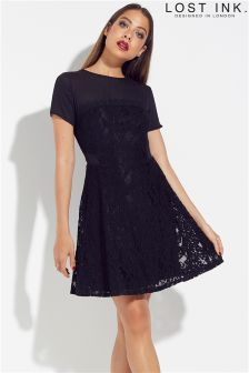 Lost Ink Skater Dress