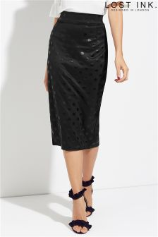 Lost Ink Spot Print Pencil Skirt