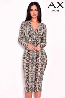 AX Paris Snake Print Ruched Dress