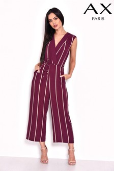 AX Paris Stripe Wrap Culotte Jumpsuit