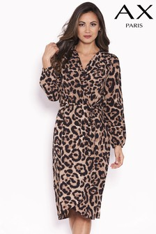 AX Paris Wrap Front Animal Print Dress