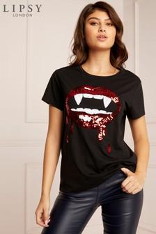 Lipsy Sequin Halloween Lips T-Shirt