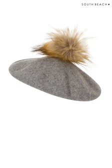 South Beach Faux Fur Pom Trim Beret Hat
