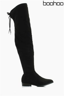 Boohoo Lace Up Over The Knee Flat Boots