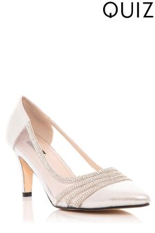 Quiz Shimmer Diamanté Low Heel Courts