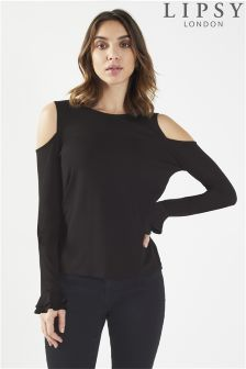 Lipsy Cold Shoulder Frill Top
