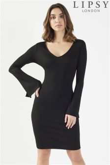Lipsy V neck Split Sleeve Rib Bodycon Dress