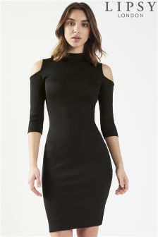 Lipsy High Neck Rib Dress