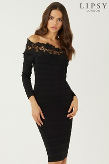 Lipsy Off Shoulder Lace Trim Bardot Dress