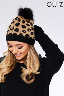 Quiz Leopard Faux Fur Pom Hat
