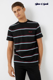 Gio Goi Stripe And Embroidery T-Shirt