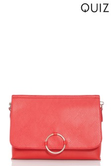 Quiz Faux Leather Ring Bag