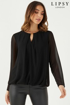 Блузка с длинными рукавами и металлической отделкой Lipsy