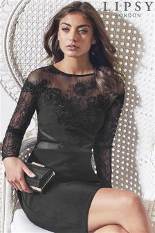 Lipsy Lace Top Detail Long Sleeve Bodycon Dress