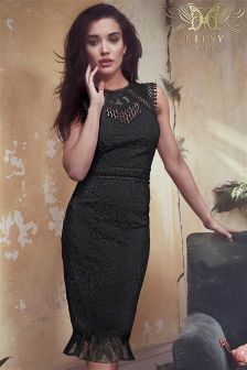 Lipsy VIP Lace Embroidered Flute Hem Bodycon Dress